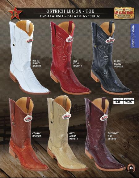 3X Toe Genuine Ostrich Leg Mens Western Cowboy Boots Diff.Colors/Sizes