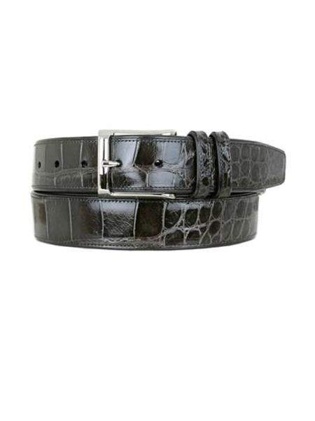 Mezlan Belts Brand Men's Genuine World Best Alligator ~ Gator Skin / Calfskin Grey Skin Belt
