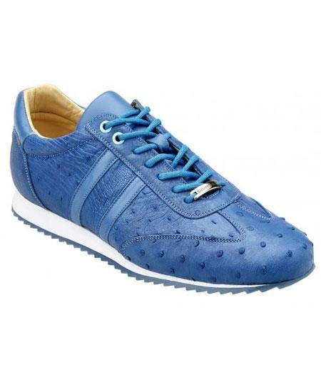 Men's Baby Blue Lace Up Genuine Ostrich Casual Sneakers