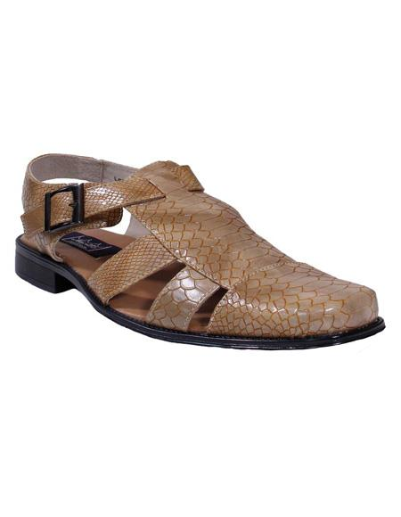 Beige Gator Print Majestic Closed Toe For Mens