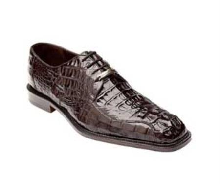 Authentic Genuine Skin Italian Chapo - Brown Caiman Skin Shoes