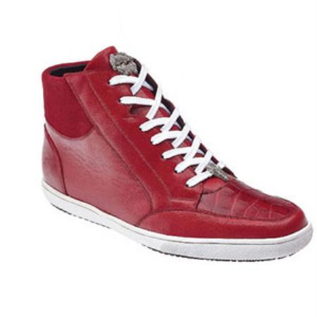 Soft quality Belvedere calfskin Franco crocodile leather -High Top Red Sneakers for men online