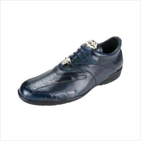 Authentic Genuine Skin Italian Men's Bene Dress Sneaker In Navy