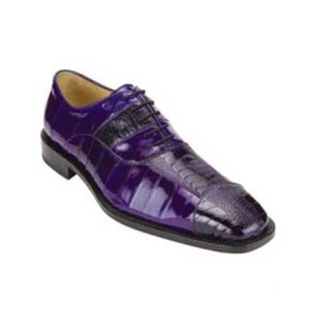Authentic Genuine Skin Italian Mens Purple Genuine Ostrich Eel