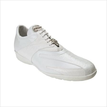 Authentic Genuine Skin Italian Mens Bene Sneaker In White