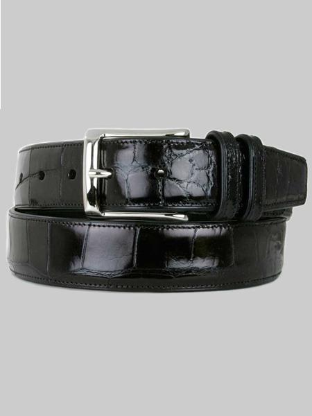 Mezlan Belts Brand Men's Genuine World Best Alligator ~ Gator Skin Black Skin Belt