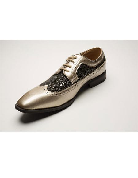 Men's Two Toned Wingtip Lace Up Style Black ~ Brown ~ Gold Dress Shoes