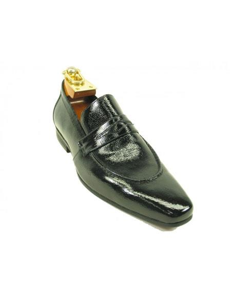 Men's Carrucci Premium Calf Skin Slip-On Leather Dress Casual Unique Zota Mens Dress Shoe Patent Black