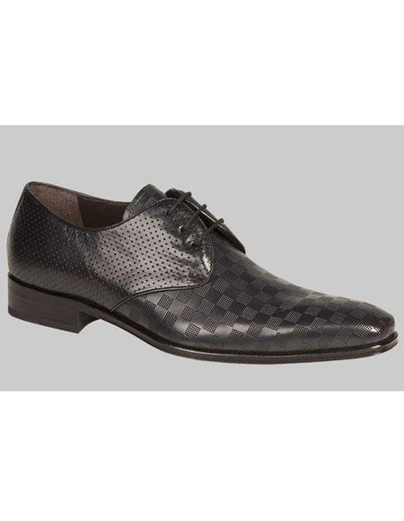 Mens Black Calfskin Lace Up Checker Pattern Leather Shoes Authentic Mezlan Brand