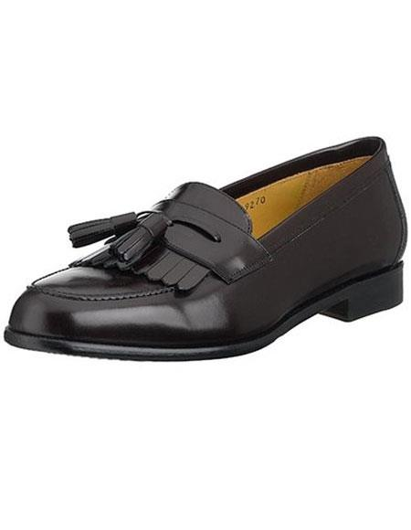 Mens Black Slip-On Italian Calfskin Tassle Loafers Leather Shoes Authentic Mezlan Brand