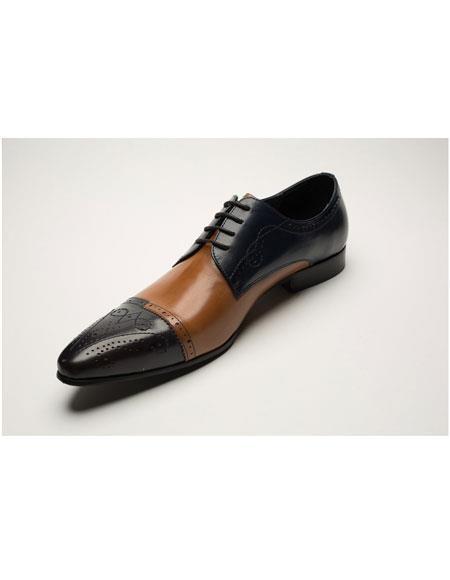 Men's Two Toned Black ~ Cognac Lace Up Casual Eyelet Lacing Dress Shoes