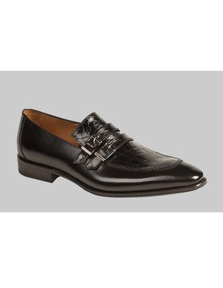 Mens Black Crocodile Top With Double Monk Straps Loafers Leather Shoes Authentic Mezlan Brand