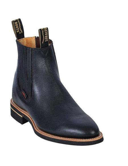 Los Altos Charro Botin Short Ankle Deer Black Leather Boot ~ Botines Para Hombre For Men