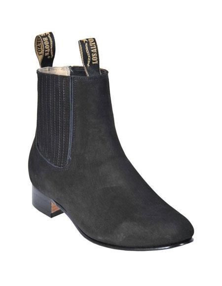 Los Altos Charro Botin Black Short Ankle Deer Leather Boot ~ Botines Para Hombre For MenLos Altos Charro Botin Black Short Ankle Deer Leather Boot ~ Botines Para Hombre For Men