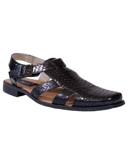 Black Gator Print Majestic Solid Pattern Closed Toe