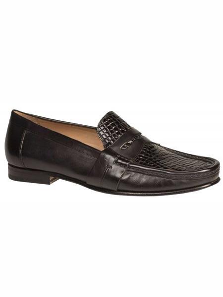 Mezlan Brand Black Genuine Crocodile Loafer Shoes