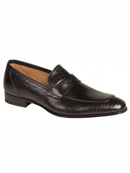 Mezlan Brand Black Genuine Lizard Loafer Shoes