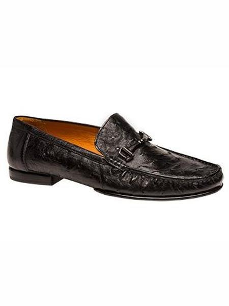 Mezlan Brand Black Genuine Ostrich Moccasin Shoes