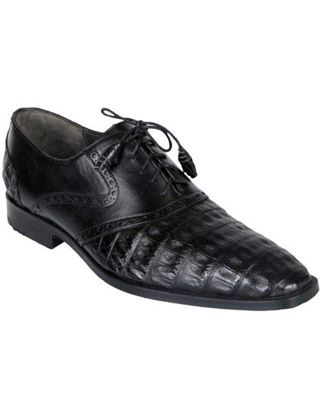 Men's Oxfords Black Genuine Crocodile Caiman Belly Los Altos Dress Shoes