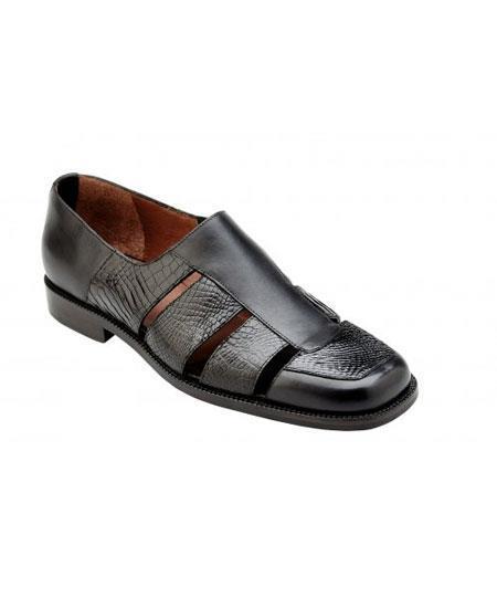 Men's Black Leather Genuine World Best Alligator ~ Gator Skin ~Italian Calf Sandals