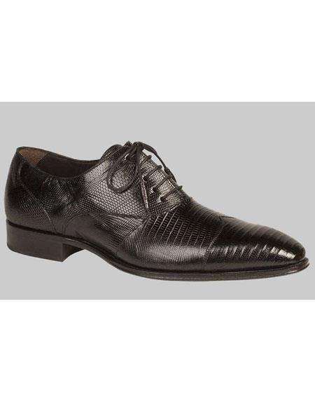 Mens Black Lace Up Genuine Lizard Cap Toe Leather Shoes Authentic Mezlan Brand