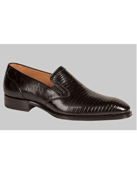 Men's Black Genuine Lizard Slip On Handmade Dress Shoes Authentic Mezlan Brand