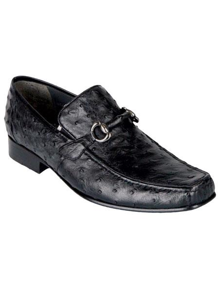 Men's Black Genuine Ostrich Los Altos Casual Slip On Loafer Style Dress Shoes