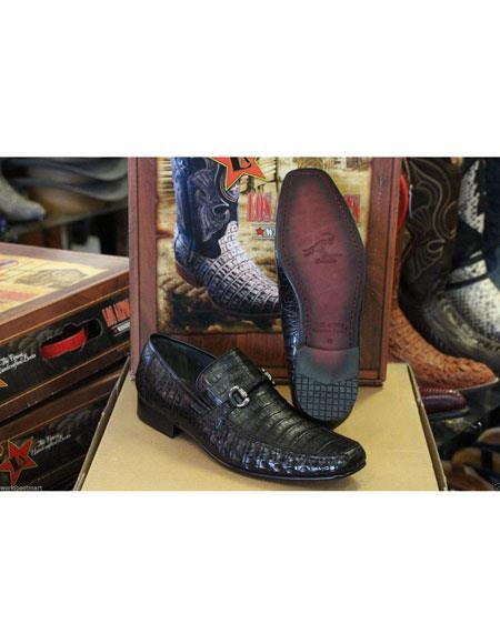Men's Genuine Crocodile Los Altos Loafers Style Black Dress Shoes