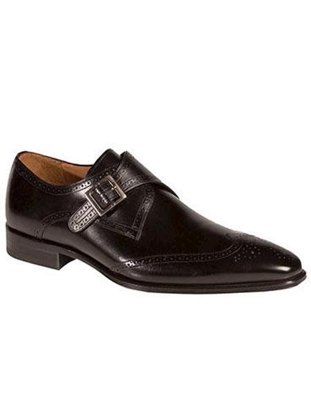 Men's Black Fashion Monkstrap Italian Style Dress Shoes Authentic Mezlan Brand