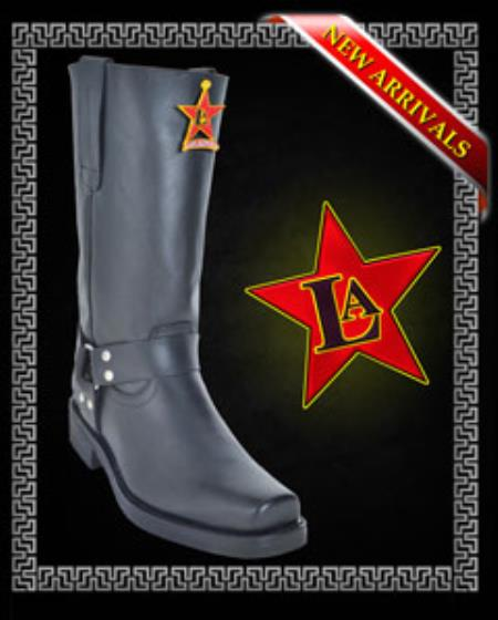 Mens Motorcycle Style Boots Cowhide Brown