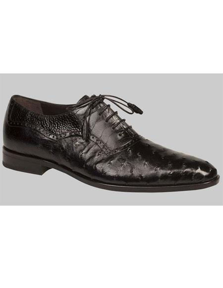 Men's Black Ostrich Quill Skin Exotic Oxford Leather Shoes Authentic Mezlan Brand