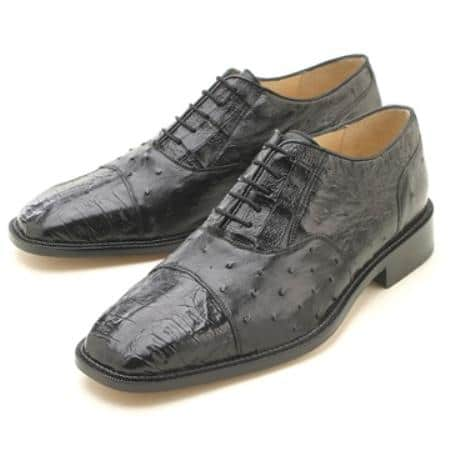 Oxfords Black Croc/Ostrich Authentic Genuine Skin Italian Lace-Up Oxford Dress Shoe