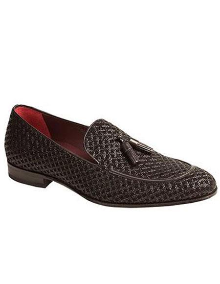 Mens Black Slip-On Tassle Textured Suede Loafer Shoes Authentic Mezlan Brand