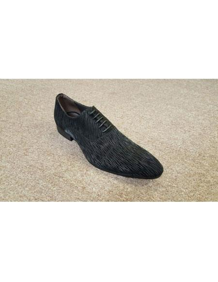 Men's Man Made Black On Black Texture Pattern Genuine Soft Genuine Leather Lace Up Zota Unique Zota Mens Dress Shoe
