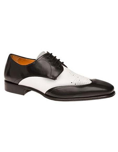 Mens Black/White Calfskin Two Tone Wingtip Lace Up Leather Oxford Shoes Perfect For Men Authentic Mezlan Brand