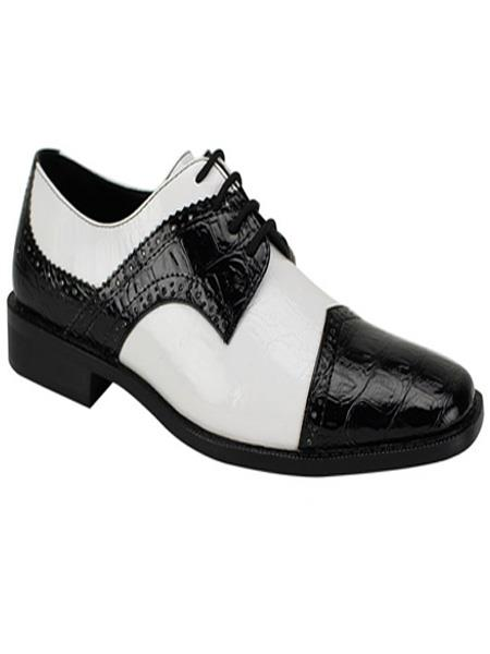 Men's Fashion Two Toned Black/White Dress Oxford Shoes Perfect For Men