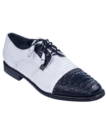 Men's Oxfords Style Genuine Caiman Belly And Teju Lizard Los Altos Shoes Black White