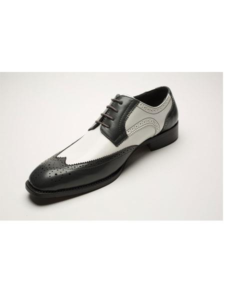 Men's Two Toned Lace Up Black ~ White Wingtip Four Eyelet Lacing Dress Oxford Shoes Perfect for Men