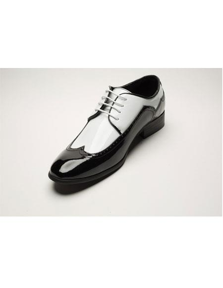 Men's Two Toned Black/White Wingtip Fashion Dress Oxford Shoes Perfect for Men