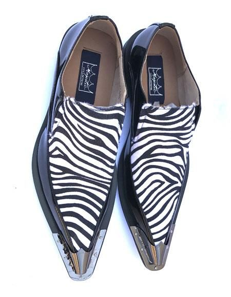 Men's Stylish Tiger ~ Zibra ~ Leopard Pattern Slip On Spat Black/White Dress Oxford Shoes Perfect for Men Wingtip Two Toned