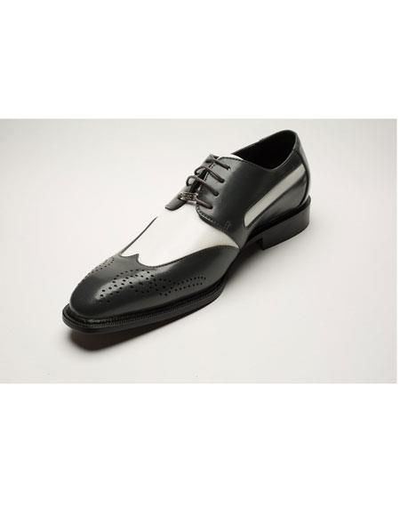 Men's Two Toned Black ~ White Lace Up Wingtip Style Cushioned Dress Oxford Shoes Perfect for Men