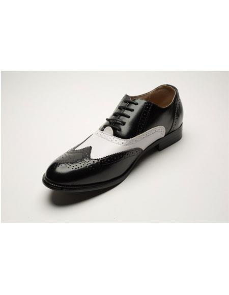 Men's Two Toned Black ~ White Lace Up Wingtip Style Dress Oxford Shoes Perfect for Men