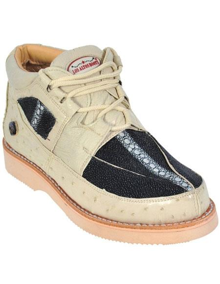 Men's Winter White Black Genuine Stingray and Ostrich Lace Up Los Altos Shoes