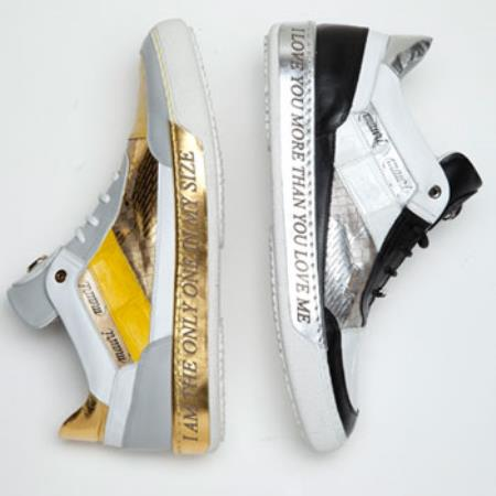 Express Nappa & Crocodile Sneakers Black/White Yellow/White