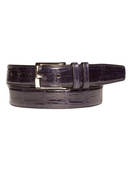 Mezlan Belts Brand Men's Genuine World Best Alligator ~ Gator Skin / Calfskin Blue Skin Belt