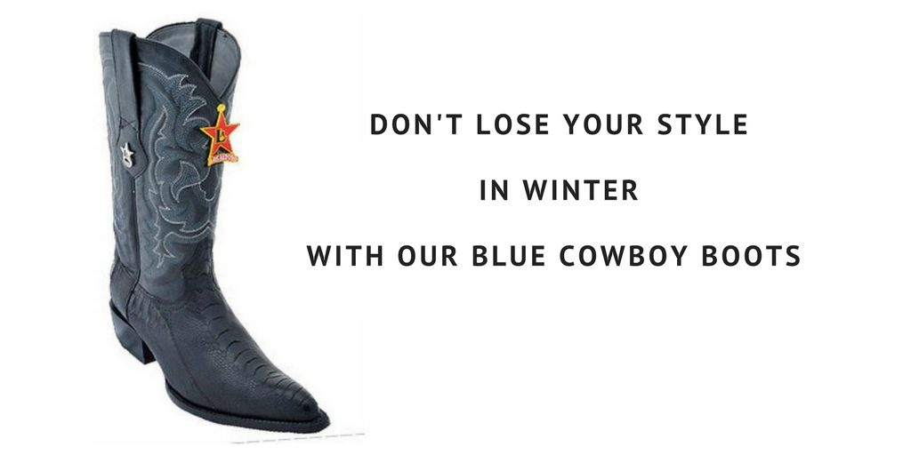 Blue Cowboy Boots in the Snow - Winter Fashion FAQs for Men