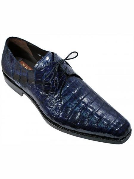 Mezlan Brand Blue Genuine Crocodile Wrapped Tassel Shoes
