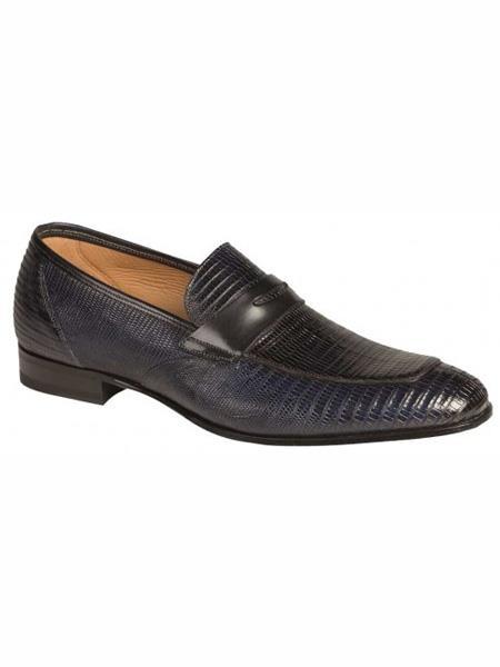 Mezlan Brand Blue Genuine Lizard Loafer Shoes