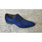 Men's Blue Man Made Texture Pattern Lace Up Geniune Leather Footwear