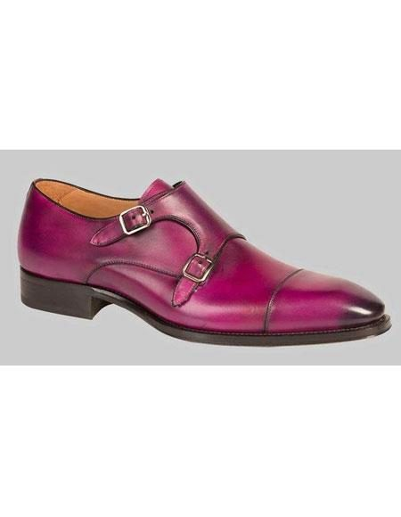 Mens Bold Purple Calfskin Monk Strap Cap Toe Leather Shoes Authentic Mezlan Brand